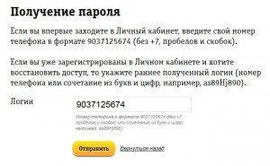 Получение пароля в ЛК